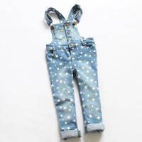 New 2014 Autumn Children clothing girls and boys fashion stars denim overalls  6pcs/lot