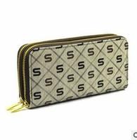 Free transport wholesale QB011 long dual zipper S pattern wrist bag unisex wallet wallet