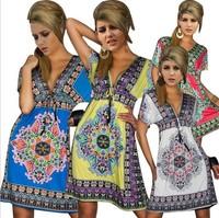 TP1508 Hot sale  Fashion Retro Vintage Paisley Print V Neck Hippie Boho Summer Dress Women Beach Dress