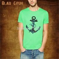 Wholesale brand Men T-Shirts,man tshirts, fashion O-neck t shirt S-XL size  blau tee , gruntee ,Seaman anchor BL004style