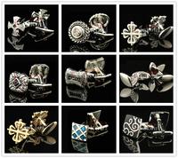 One Pair Cufflinks Mens Shirt Cuff links Wedding  business Wear Roman pattern Carving fashion Best Quality Cross Gold silver