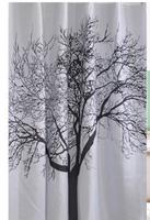 1pcs/lot free shipping New Europe Big Black Scenery Tree Design Bathroom Waterproof polyester Fabric Shower Curtain 180*180cm