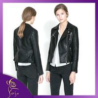 Motorcycle Real 2014 High Street Locomotive Suit Lady New Autumn Pu Leather Jacket Zipper Pocket Women Fashion Slim Jacket Coat
