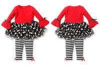 New Design Autumn girls long sleeve dress with Dot Hem + Trousers 2pcs set Children casual clothing suit kids fashion wear 5set