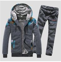 2014 new winter man hoody Grid color matching Add Wool keep warm tracksuits men sportswear hoodies sweatshirt sport suit men
