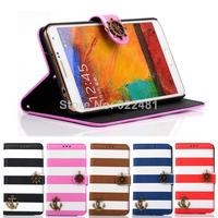 Fantastic! New Arrival Stripes Anchor Rudder Wallet Flip Case For Samsung Galaxy Note 3 N9000  Free Shipping&Wholesale Feida