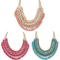 Fantastic New Arrival 1PC Bohemian Braided Vintage Layered Beads Tassel Choker Bib Gold Necklace Free Shipping&Wholesale Feida