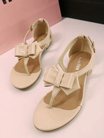 Bowtie women 2014 summer sweet buckle strap style sandals Europe&us flat candy color comfortable shoes add size 38