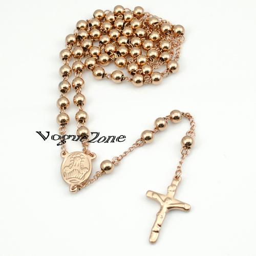 6mm Beads Rose Gold Stainless Steel Religous Rosary Cross Necklaces jesus tardis prata music skyrim jewlery