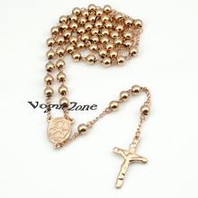 6mm Beads Rose Gold Stainless Steel Religous Rosary Cross Necklaces jesus tardis prata music skyrim jewlery fox wholesale BRN40
