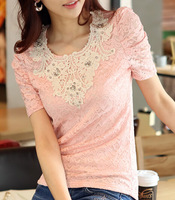 Free Shipping High Quality Korean Summer Hot Sale Sweety Short Sleeve Lace Drill Decorated Puff Sleeve Lace Blouse Pink