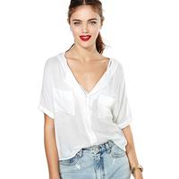 Richcoco paragraph of street fashion casual loose chest pocket decoration V-neck d437 short-sleeve chiffon shirt