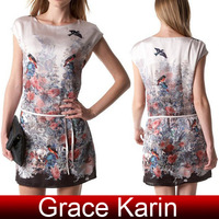 Free Shipping! Grace Karin Occident Women's Birds & Flower Print Mini Dress 4 Size XS~L CL5989