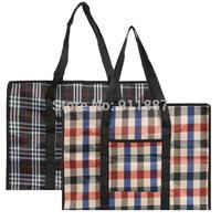 Casual Women Reusable Large Strong Plaid Jumbo Laundry Bags Zipped Storage Shopping Bag Zip