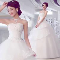 Fashion Strapless Lace Wedding dress 2014 Bride Princess Floor-Length White vestido de noiva wedding dresses Bridal Gown W42