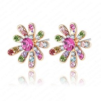 Retail-Free Shipping Wholesale Flower Earrings Real 18K Gold Plated   Element Austrian Crystal Brand Earring ER0005-C