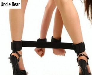 Black hand cuffs handle&leg restrains rope Couples flirting adult sex games slave sets flirting sex toy for couple,S-102(China (Mainland))