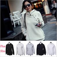 Plus Size 2014 Hoodie Cute Ladies Sweatshirt Fleece Warm Autumn Hoodies Women Sport Suit Pullovers  Girls Winter Coat Camisolas