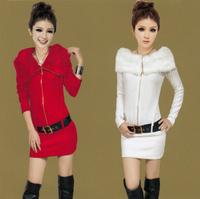 Women Fashion Slim Knitted Dress with Fur Collar