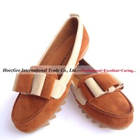 2014 Fashion Women's Shoes Cow Split Genuine Leather Loafers With Bow Knot Mixed Color Round Toe Flat 4 Seasons Boat Shoes