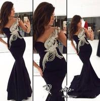 Top Designer Sexy One Shoulder Bling Crystal Beaded Black Mermaid Formal Evening Gown Vestido de festa Long Prom Dresses 2015
