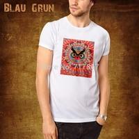 2014 Hot Wholesale brand Men T-Shirts,man tshirts, fashion O-neck t shirt S-XL size  blau tee , gruntee ,Owl cartoon   style