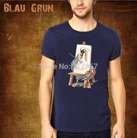 2014 Hot Wholesale brand Men T-Shirts,man tshirts, fashion O-neck t shirt S-XL size  blau tee , gruntee , Swan artist  style
