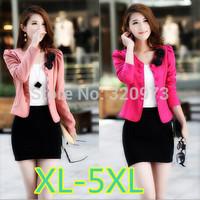 XL-5XL size women coat 2014 new korean style extra plus size long sleeve double breasted short women jacket free shipping