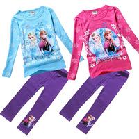 2014 autumn new arrival Baby girls frozen elsa anna clothes set children kids spring clothing suit 2pcs set tees+ leggings TM35