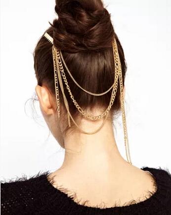 Free shipping 2015 new fashion jewelry accessories punk royal tassel gold comb hair accessory female women decorate headband(China (Mainland))