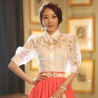 European Style Brand Hollow out Blouse Flowers Lace Chiffon Shirt Tops fashion Spring Summer Fall Women Wear M L XL b6 SV006433