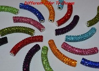 new clay pave disco bead white blue black mixed multi color long bending tube crystal shamballa beads.bead for bracelet necklace