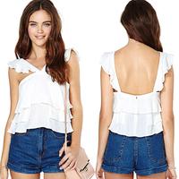 2014 best selling summer dress sexy ruffle racerback pleated sweep short spaghetti strap design chiffon shirt d397
