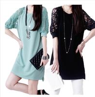 2014 summer plus size loose lace patchwork basic skirt a-line skirt one-piece dress female short skirt