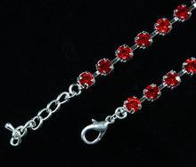 Dog Jewelry Red Rhinestones Diamante Crystal Pet Collar Necklace With Bone Charm