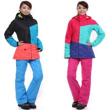 DHL free shipping women's ski suits skiing pants suit monoboard skiing underwear Women set outdoor waterproof windrpoof Jackets(China (Mainland))
