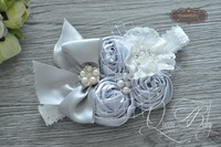10pcs/lot  Triple Silver Satin  Rosette With Bow Matching Sparkling Pearl Rhinestone Headband Baby Girl Headband