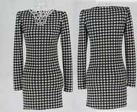 2014 new bottoming dress women autumn winter dresses fashion models Plaid Diamond straight Slim long sleeve lady clothing