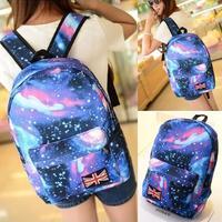 Fashion Women Stars Universe Space printing backpack School Book Backpacks British flag Stars bag free shipping HW03048