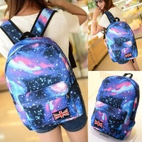 Promotion Women Galaxy Stars Universe Space printing backpack School Book Backpacks British flag Stars bag free shipping HW03048