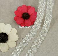 White Seed Bead Beaded Trims Sewed On Organza Ribbon 1.5cm Width for Jewelry Headpiece DIY Dress belt