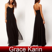 New Free Shipping Cheap GK Occident Women's Spaghetti Straps Black Long Split Chiffon Dress 6 Size XS~2XL CL5992