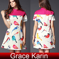 Free Shipping 1pc/lot GK Womens Slim Fit Short Sleeve Birds Pattern Mini Dress 2 Size S~M CL5993
