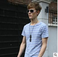 2014 New Fashion Stripe Men Tees Round Collar Short-Sleeved 100% Cotton Stripe Men T-Shirt Four Color Casual Men Tops