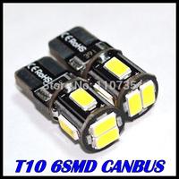 2014 NEWS !! Free shipping 10PCS/lot Car Auto LED T10 194 W5W Canbus 6smd 5630 5730 LED Light Bulb No error led light