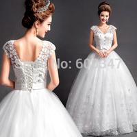 New 2014 Lady Organza Diamond Bow Embroidery V-Neck Cap Sleeve Floor Length Backless Wedding Dress Bridal Ball Gown