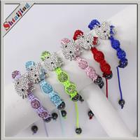 Wholesales New Mixed Colors Shamballa Crystal Hello Kitty Bracelets
