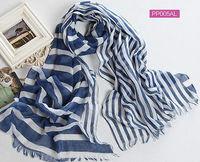 Women's Summer and Autumn Blue Striped Long Shawl Printed Cape160x50cm Chiffon Cotton Muffer Echarpes 2014
