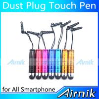 100pcs a lot Wholesale Multifunction Mini 3.5 mm Dustproof Plug High Quality Popular Capacitive Stylus Touch Pen