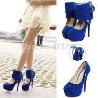 Big size 2014 fashion red bottom high heels shoes women thin heel platform pumps 14cm Stiletto sexy bowtie wedding party shoes